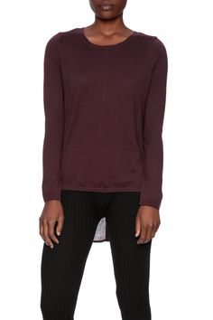 Lightweight long sleeve sweater with a crew neck,chiffonback and button downdetailing.   Cecily Back Button Sweater by Black Swan. Clothing - Sweaters - Crew & Scoop Neck Dallas, Texas Texas