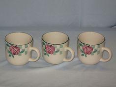 3 Tienshan Stoneware Coffee Cup Mug 8 oz. Red Apple Country Check #DH36 #Tienshan