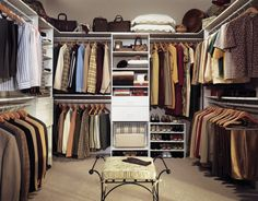 Design: Wire Shelf On Trendy Walk In Closet Design Plus Classic Bench Feat White Drawer With Steel Clothes Rod: U Shaped Organizer and Ergonomic Huge Puff Decorate Luxurious Walk in Closet Design Ideas