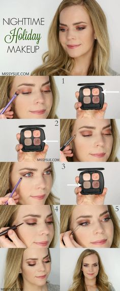 Day to Night Holiday Makeup. This is a great website full of excellent makeup tutorials and I love she includes easy to find and relatively inexpensive products. Simple and not too overdone.