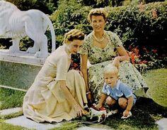Princess Ragnild of Norway, Mrs. Lorentzen and her son, Haakon Lorentzen, with her sister Princess Astrid of Norway,