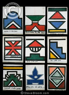 Photograph of Detail of artwork on a Ndebele house, South Africa - License this photo from Steve Bloom Images African Hut, African Art Projects, South American Art, Tribal Patterns, African Design, Aboriginal Art, Art Classroom, Tribal Art, Geometric Designs