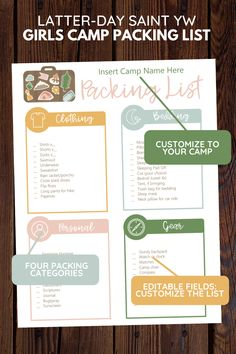 Enhance lds Girls Camp! This editable young women camp packing list is an editable pdf. Perfect for your needs, awesome for your Latter-Day Saint camp! Printable instant download. Bedding, clothing, gear, personal categories. Cute illustrations & clipart! Printable Packing List, Secret Sister Gifts, Camping Packing, Scripture Study, Girls Camp, Young Women, Lds Blogs, Bedding, Pdf