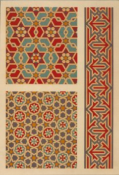 "The above pattern is of Mamluk period and the below design was used during the Seljuk Sultanate of Rum at the Gok Madrasa and Mosque in Amasya, Turkey (1266-67), and at a much later date by Mamluk artists at the Sultan Qansuh al Ghuri Complex in Cairo (1503-05). The image is Plate 51 (""Wall Mosaics, 15th and 16th Centuries"") from Arab Art by Prisse d'Avennes."