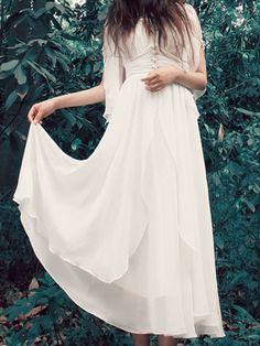 Solid Color Stereo Flower Embellished Refreshing V-Neck Half Sleeve Dress For Women