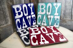 """A favorite in our BOY signs collection, Boy Cave is the perfect addition to your personalized home décor, nursery or Boys room collection. This sign makes the perfect baby shower or birthday gift. I also have a listing called """"FAQs and HOW To ORDER a Personalized sign from Madi Kay Designs that you may find helpful: https://www.etsy.com/listing/247305782/faqs-and-how-to-order-a-personalized?ref=shop_home_active_1  The following options are available for your sign:  PRINTED ON WOOD Each…"""