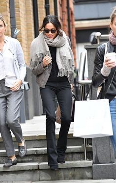 Meghan Markle has been spotted Christmas shopping in the capital after landing in London on Monday