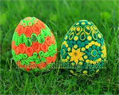 Quilled Easter eggs - green, yellow, orange