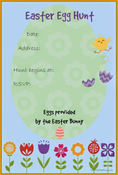 FREE PRINTABLE Easter Egg Hunt invitation Template!