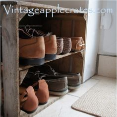 Rustic Vintage Apple Crate Long Shelf Unit - ideal for storage and display or shoe rack on Etsy, Shoe Rack With Shelf, Shoe Storage Rack, Rack Shelf, Storage Boxes, Toy Storage, Storage Organization, Storage Ideas, Rustic Shoe Rack, Wooden Shoe Racks