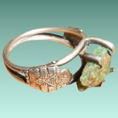 Columbian Rough Emerald Ring with Inca Gods Setting