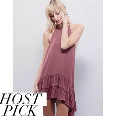 """✨HP✨NWOT Free People slip dress Host Pick 3/7/16- Best in Skirts & Dresses Party!   NWOT. Dusty rose pink slip dress from Free People. Gorgeous high neckline. Measures approximately 28.5"""" in length. Made of 100% polyester. Semi sheer with low racer back. Only defect is a black mark through the tag to prevent returns. Beautiful piece! Reasonable offers welcome through the offer button. No trades Free People Dresses Mini"""