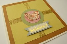 Réalisez ce faire-part inspiré de la nature grâce à du masking tape doré, du ruban adhésif pailleté et un joli tampon papillon.
