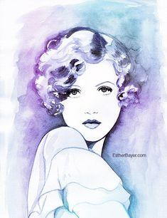 Marion Davies Watercolor Fashion Illustration por EstherBayer, $32.00