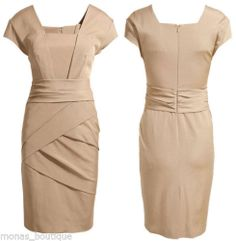 Office Dress Celeb Kate Nude Beige Black Party Wedding Work 6 16 New | eBay