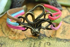 Bronze Octopus  Bracelet Colorful Leather by BeautifulShow on Etsy, $3.99