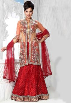 #Red Net #Lehenga #Choli with #Dupatta  Itemcode: LHM93  Price: $466.86  #Shop Now @ http://www.utsavfashion.com/lehenga/red-net-lehenga-choli-with-dupatta/lhm93-itemcode