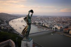 BUDAPEST, Hungary - The windswept Liberty Statue, overlooking the city. Aerial views of Europe taken from a drone - in pictures Drones, Quadcopter Drone, Bratislava, Fotografia Drone, Aerial Drone, Belle Villa, Aerial Photography, Aerial View, Statue Of Liberty