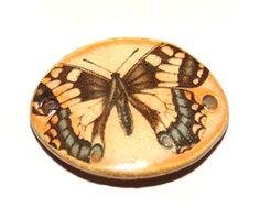 Ceramic Butterfly Bracelet Bar Handmade Earring Pair by Grubbi