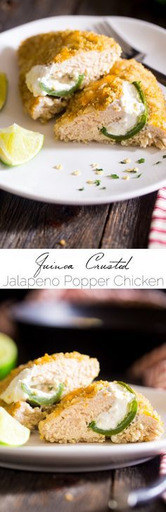 Quinoa Crusted Jalapeno Popper Chicken - This crowd-pleasing chicken tastes like the popular party food, but is made healthy and gluten free with a quinoa crust! Perfect for busy, weeknight meals! | Foodfaithfitness.com | @FoodFaithFit