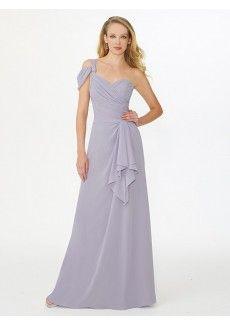 A Line One Shoulder Floor Length Chiffon Grey Wedding Guest/Bridesmaid Dress Adp1va0026
