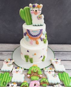 Llama birthday cake with cookies Llama birthday cake with cookies - Baby Shower Decor 1st Birthday Cakes, 1st Birthday Parties, Birthday Ideas, Birthday Cakes Girls Kids, Cookie Cake Birthday, Cactus Cake, Llama Birthday, Cute Cakes, Baby Shower Cakes