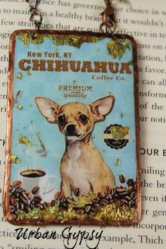 Hanging Ornament Chihuahua Coffee Poster Rear View Mirror Small Dog Lover Chihuahua Lover Mini Art Mirror Charm by UrbanGypsyIndy on Etsy