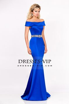 2016 Mermaid Boat Neck Beaded Waistband Prom Dresses Royal Blue Sweep Train Stretch Satin