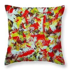 Abstract Throw Pillow featuring the painting Transitions With Yellow Brown And Red by Dean Triolo