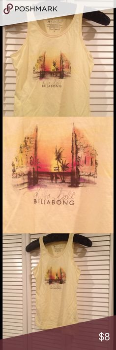 Billabong Bali tank Original bought in Bali! Fun for summer! Says size 14 but fits like a S. Only worn a few times. Slight difference of color on the collar fabric but it may be like that on purpose. Billabong Tops Tank Tops