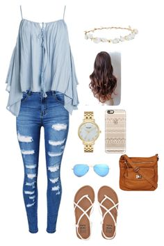 """""""Untitled #84"""" by skielerh on Polyvore featuring WithChic, Sans Souci, Design Lab, Kate Spade, Casetify, Ray-Ban and Billabong"""