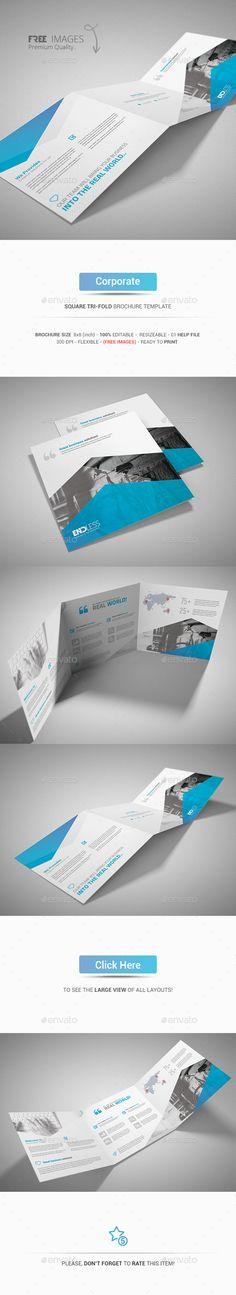 Corporate Square Tri-Fold Brochure Template #design Download: http://graphicriver.net/item/square-trifold-brochure-corporate/13577642?ref=ksioks