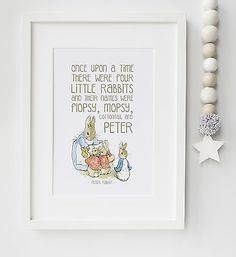 Peter Rabbit Baby Quote Beatrix Potter Nursery Print Picture Christening Gift in Baby Christening & Gifts Christening Nursery Name, Nursery Themes, Nursery Prints, Girl Nursery, Nursery Ideas, Nursery Decor, Nursery Pictures, Theme Bedrooms, Beatrix Potter Nursery
