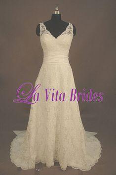 V neck lace wedding dress vintage look with sash by LaVitaBrides, $396.00