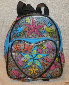 Vintage LISA FRANK  Clear Mini Backpack Purse Bag Butterflies Hearts Flowers #LisaFrank