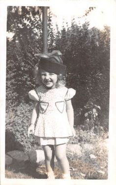 Photograph Snapshot Vintage Black and White: Baby Girl Smile Dress 1950's