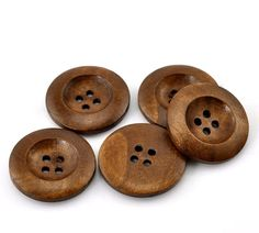 Brown Wooden Buttons - 4 Holes - Round Sewing Wood Buttons 25mm (1)   You will be receiving 5, 10, 25, or 100 pieces of these beautifully hand