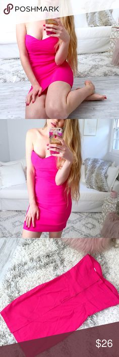 """Hot Pink Strapless Bodycon Dress The perfect party dress! Hot Pink, like brand new! No stains, damages or issues.   ▫️Add to Bundle"""" to add more items in my closet or """"Buy"""" to checkout here with your size.  ↓Follow me on Instagram ↓         @ love.jen.marie Lipstick Boutique Dresses Strapless"""