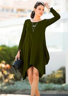 Wearlove Women Asymmetrical Loose Long Sleeve Pockets Tunic Shirt Dress at Amazon Women's Clothing store:
