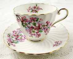 Vintage Aynsley Swirled Tea Cup and Saucer with by TheAcreage