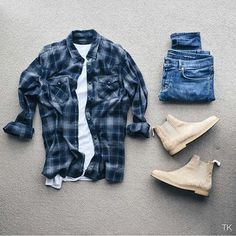 Outfit grid - Checks & Chelsea boots