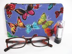 Small Zipper Pouch Butterfly Fabric Electronics by PBJKreations
