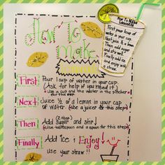 """Summertime way to introduce transitional words. I love the idea of doing this because students are able to create their own """"recipe"""" for lemonade. You could later use their recipes to see who makes the best lemonade. Teaching Social Studies, Teaching Writing, Teaching Science, Teaching Ideas, Summer School, School Fun, School Ideas, School Stuff, Procedural Writing"""