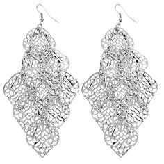 Lucky Leaf Shape Hollow Out Silver Plated Earrings - USD $ 2.99