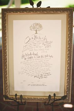 a sweet way to display your vows at the wedding and preserve for your home