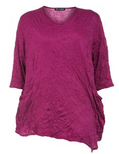 Knitter-Shirt mit Beuteltaschen von Donna Sophia in Pink.Topmodische Kleidung in großen Größen online bei navabi kaufen.