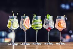 Five Colorful Gin Tonic Cocktails Wine Stock Photo (Edit Now) 1039600045 Drinks Com Vodka, Gin & Tonic Cocktails, Healthy Cocktails, Gin And Tonic, Alcoholic Drinks, Champagne Cocktail, Cocktail Drinks, Cocktail List, Cocktail Ideas