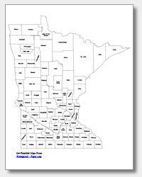 Printable Minnesota maps (by county, etc.)