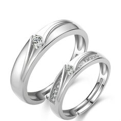 [$16.79] 2 Pack Love Life Of Men And Women Opening Silver Ring (Colour: Couple ring one pair, Purity: S925 Silver)