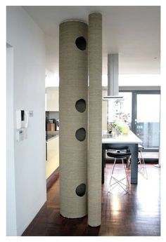 Cat Pole - maybe it is even something that can be made, DIY? It looks like it. I know I want one real bad. So does my cat. #catsdiycastle